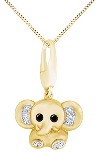 Black & White Natural Diamond Baby Elephant Animal Charm Pendant Necklace in 14k Two Tone Solid Yellow Gold (0.05 Ct) - 14k Solid Gold Elephant Charm