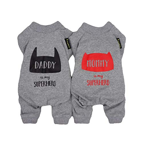 Fitwarm 2-Pack Daddy Mommy is My Superhero Pet Clothes for Dog Pajamas Onesies Cat Jumpsuits PJS Cotton Grey XL