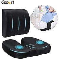 ESSORT Back & Seat 100% Memory Foam Orthopedic Coccyx Butt Cushion Set