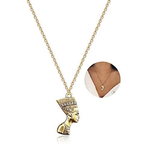 YOOE Egyptian Pharaoh King Queen Pendant Necklace,Punk 14K Gold Nefertiti Pharaoh Africa Women Girl's Jewelry (Gold) ()