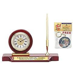Engraved Pen Single Gold Clock Set Desk Table Wood Graduation Retirement Promotion Business Award Service Gift Employee Recognition