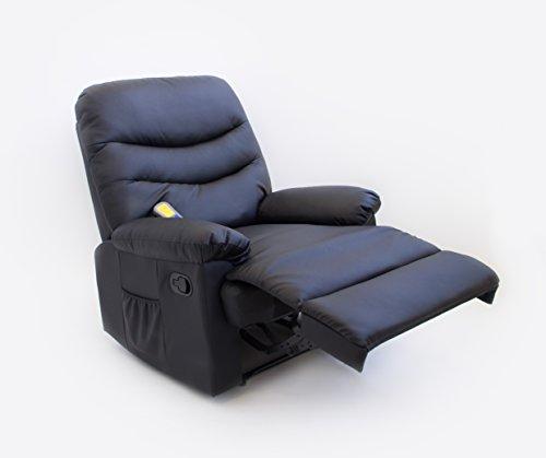 Astan Hogar Sillón Relax con Reclinación Manual, Masaje Y Termoterapia. Modelo Roma AH-AR30200NG, Negro,