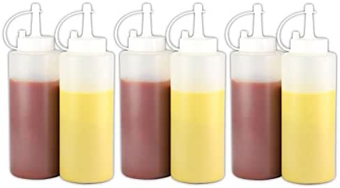 6 Pack - Plastic Squeeze Bottles with Cap Clear (22 oz.)