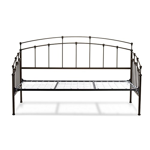Leggett & Platt Fenton Complete Metal Daybed with Link Spring Support Frame and Gentle Curves, Black Walnut Finish, - Finish Daybed Black