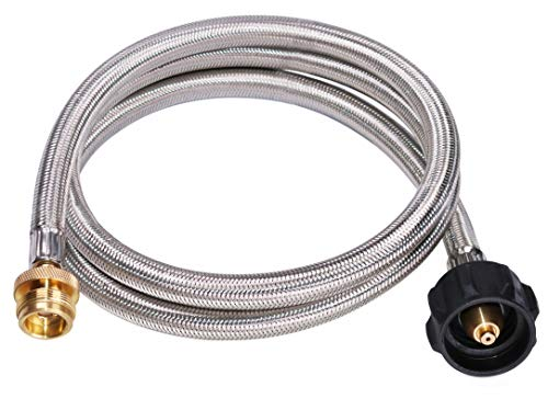 (DozyAnt 5 Feet Stainless Steel Braided Propane Adapter Hose 1 lb to 20 lb Converter Replacement for QCC1 / Type1 Tank Connects 1 LB Bulk Portable Appliance to 20 lb Propane Tank - Safety Certified)