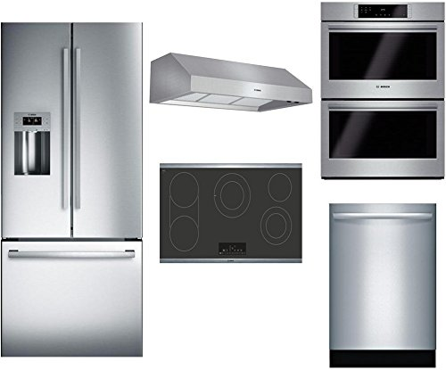 "Bosch 5-Piece Stainless Steel Kitchen Package with B26FT50SNS 36"" French Door Refrigerator, NET8668SUC 36"" Electric Smooth Cooktop, DPH36652UC 36"" Under Cabinet Hood, HBL8651UC 30"" Double Wall Oven, a"