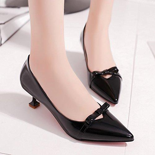 Xue Qiqi Pequeño, con Solo Zapatos y versátil Boca Superficial Pajarita Puntos, con Finos con Bare-Color 5cm High Heels Chica Negro