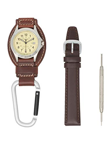 Dakota Men's Oil Tanned Genuine Leather Hanger Carabiner Clip Watch with Oil Tanned Genuine Leather Band Set - Water Resistant, Military Dial, Calendar Display (Brown) (Dakota Watch Bands)