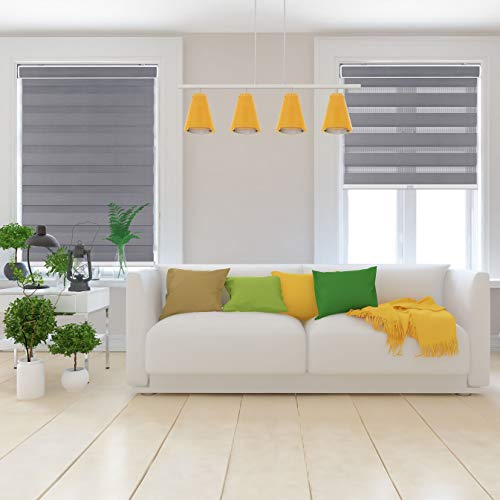 Arlo Blinds Cordless Zebra Roller Shades 32″ W x 60″ H, Grey Horizontal Window Blinds