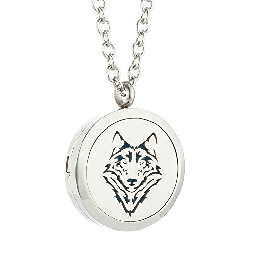 JAOYU Diffuser Necklace for Men Boys Aromatherapy Pendant Stainless Steel Floating Charm Locket - Animal Jewelry Birthday Gifts