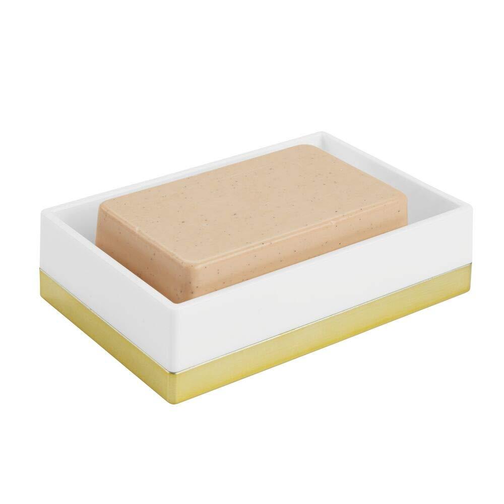 bianco e oro rosato Moderno porta saponetta ideale per bagno e cucina mDesign Compatto Portasapone per lavabo o piano cucina Porta spugna in plastica