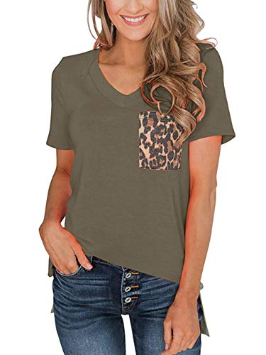 Famulily Women Leopard Pocket Patchwork Shirt V Neck Short Sleeve Pullover Top Tee Green Small ()