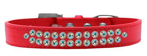 Mirage Pet Products Two Row AB Crystal Red Dog Collar, Size 20 by Mirage Pet Products