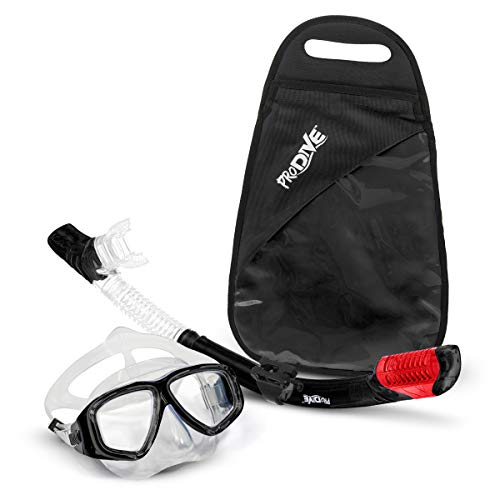 PRODIVE Premium Dry Top Snorkel Set - Impact Resistant Tempered Glass Diving Mask,...