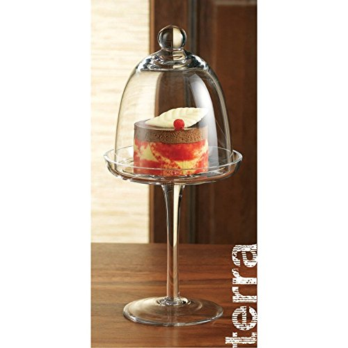 Home Essentials Terra Glass Stemmed Individual Dessert Dome, , Clear