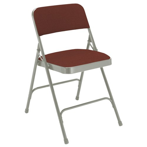 Padded Metal Folding Chair Deluxe, Double Hinge, Fabric Seat and Back by National Public Seating
