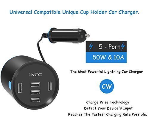 iXCC UL Certified 50W/10A 5 Port Car Charger, Cup Holder Multi USB Car Charging Port, Univeral Fast Charger Adapter for iPhone 8 7 6s Plus, iPad Air Pro Mini, Galaxy 9 for Family Road Trip