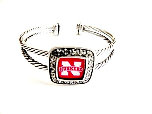 Officially Licensed University of Nebraska Cornhuskers Silvertone Crystal Studded Cable Cuff (Nebraska Logo Square)