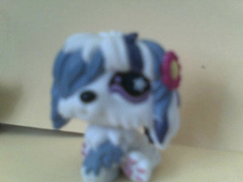 Littlest Pet Shop Sheepdog Sitting, One Eye Covered, White Purple with Yellow Pink Flower, Out of Package and Production Sitting Sheep