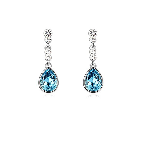 Ablaze Jin Element Crystal Earrings Rouge Tears Elegant Drop Earrings,Sea Blue