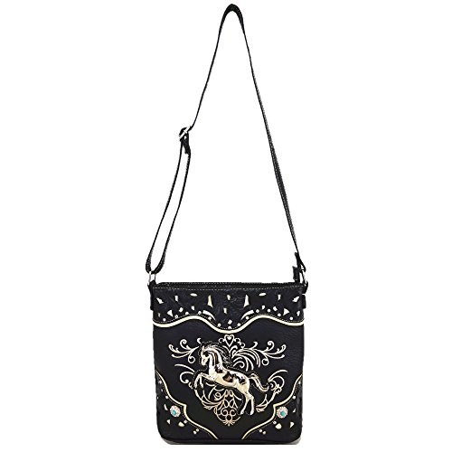 Cowgirl Style Country Horse Single Carry Concealed Western Bag Black Body Purses Shoulder Handbags Cross Women w4q551