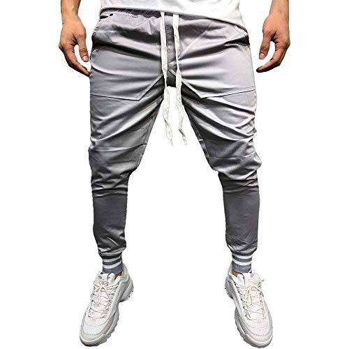 New Training Pants, Fashion Men's Casual Solid Loose Patchwork Pocket Sweatpant Trousers Jogger Pant Sports Trousers Gray L