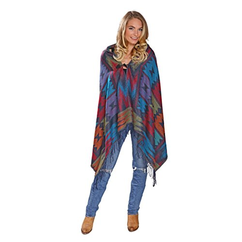 El Paso Designs Women's Hooded Poncho In Southwest Geometric Patterns and Rich Colors Cardigan Poncho Hoodie Cape With Fringe (Aztec - Store Indian Paso El