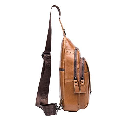 Bag Chest Multipurpose Crossbody Leather Backpack Shoulder Daypack Genuine Hiking Christmas Business Messenger For Sling Halloween Travel Bags Casual Men Sport Yellow Gift EwqgTtE