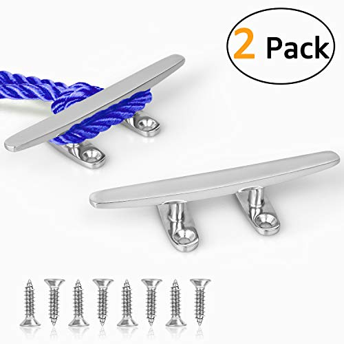 - GANGUOLA Dock Cleat, Boat Cleat 4 inch Open Base, Heavy Duty 316 Stainless Steel,Curtain Tie, Hook, Include 316 Screws (4'-2 Pack)