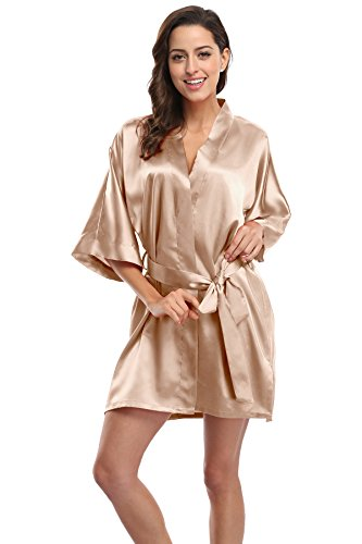 CostumeDeals KimonoDeals Women's dept Solid Color Soft Satin Short Kimono Robe for Wedding-Champagne S