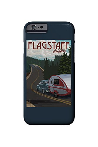 Flagstaff, Arizona - Retro Camper on Road (iPhone 6 Cell Phone Case, Slim Barely There)