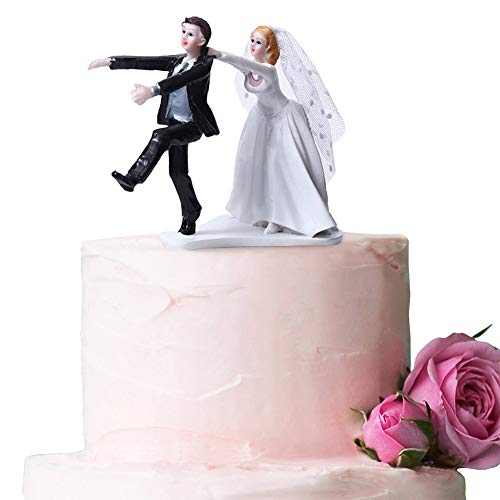 - Ocamo Funny Bride with Veil Dragging Runaway Groom Wedding Cake Topper for Cake Desktop Decoration