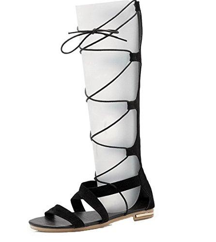 ROFLK006608 Sandales Lacet Femme Ouverture Couleur d'orteil Unie Odomolor Noir Dépolissement A8qwWP