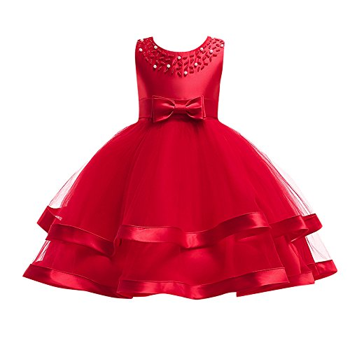(Kids Toddler Baby Girls Dresses,Sleeveless Solid Lace Bowknot Princess Party Formal Clothes 3-7 Years (Size:4T,)