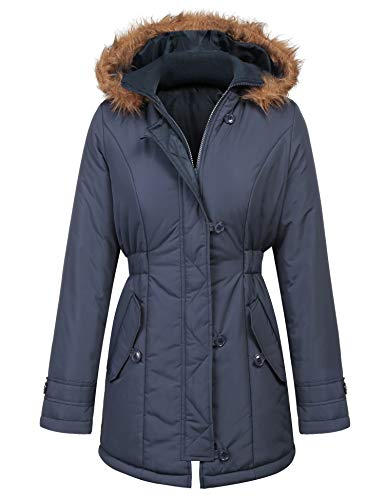 Meaneor Womens Military Hooded Warm Winter Faux Fur Lined Parkas Anroaks Long Coats Navy Blue L
