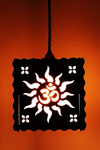 US DZIRE – THE BRAND OF LIFESTYLE 519 Handcraft Artistic Om Design Square Shaped Lamp Shade for Home Decor