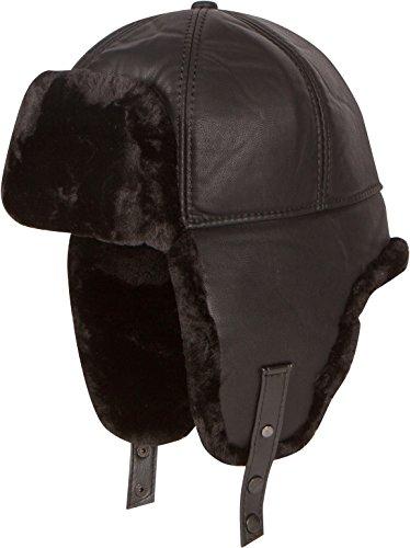 Sakkas 16160 - Leather Shearling Faux Mink Fur Aviator Russian Ushanka Hat Chin Strap - Black - XL