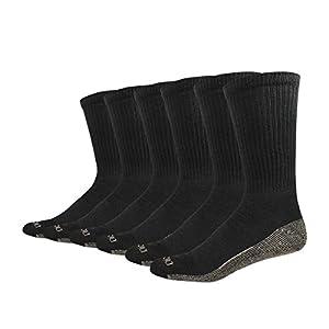 Dickies Men's Multi-Pack Dri-Tech Moisture Control Crew Socks, Black (6, Shoe 6-12 Size: 10-13)
