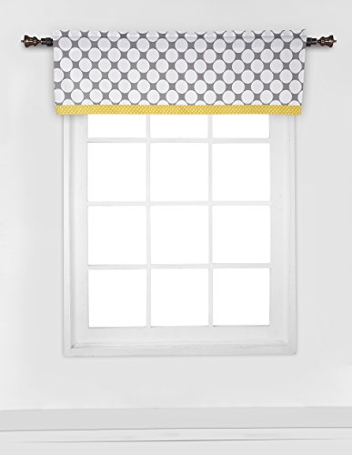 Dots/Pin Stripes Grey/Yellow Window Valance
