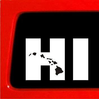 Hi hawaiian islands vinyl window decal car bumper sticker hawaii