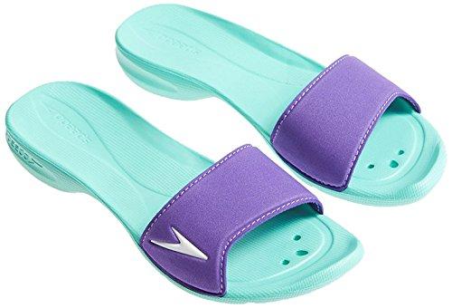 Speedo Atami II, Chanclas de Material Sintético Mujer Purple/Green