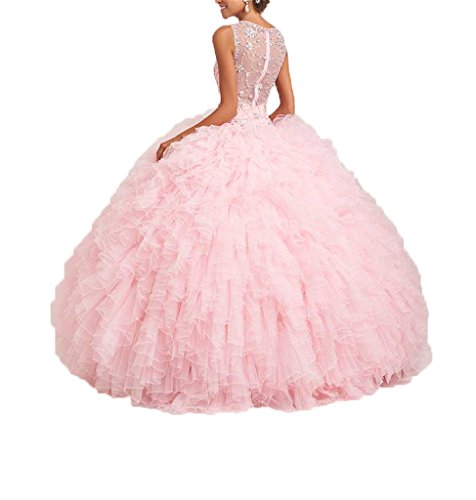 Gown Dresses Pink with Crystals Dexin Ruffles Ball Women's Quinceanera 4qzctw