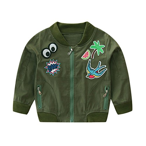 Birdfly Toddler Girls Zipper Bomber Jacket Cartoon Embroidery Parka Coat with Pockets Kids Fall Winter Clothes (4T, Arm Green) (Bunting All Weather)