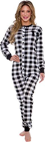 Silver Lilly Oh Deer Plaid One Piece Pajamas - Women's Union Suit Pajamas with Drop Seat (White/Black Plaid, Small)