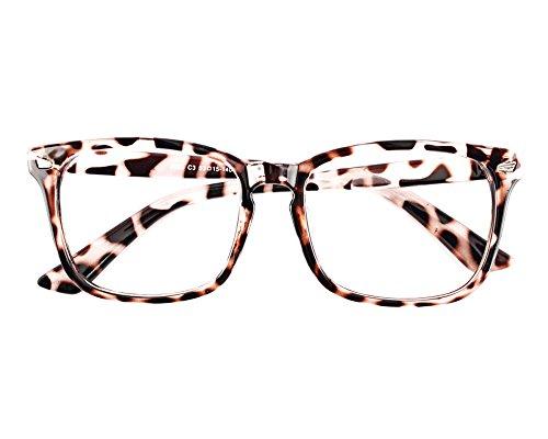 TIJN Unisex Square Wayfarer Rx-able Eyeglasses FrameSexy Leopard