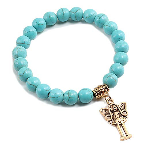 (JOOIH 12 Style Blue Turquoises Natural Stone Men Bracelet Gold Colour Key Angel Aircraft Accessories Bracelets Bangles for Women Gift 8blue Angel)
