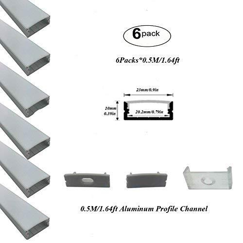 Hanks 0,5m 1m 2m 2210mm Surface Mounted extrusión de perfil doble fila, 20mm, para tira LED luz, 6X0.5M Milk