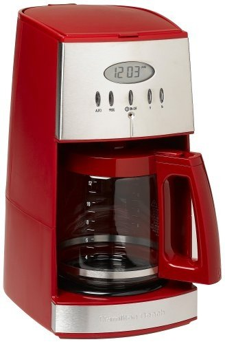 Hamilton Beach Ensemble 12-Cup Coffeemaker with Glass Carafe, Red (Red Carafe)