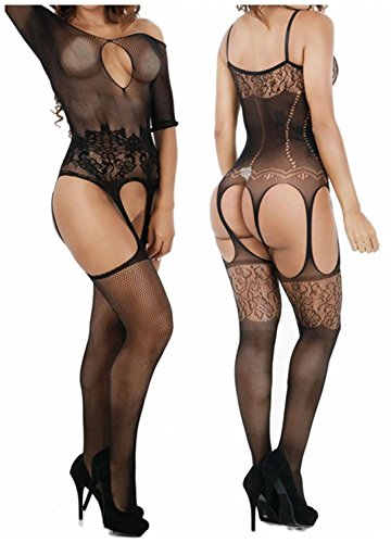 - Qandsweet Womens Lingerie Bodystockings Crotchless Sexy Stretchy Fishnet Bodysuit 2-Pack (Styles of 2)
