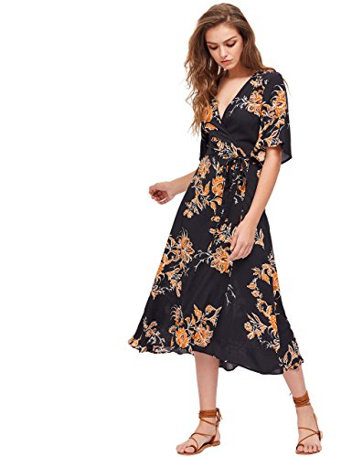 Milumia Women's Boho Deep V Neck Floral Chiffon Wrap Split Long Dress Black XL (Chiffon Floral Wrap)
